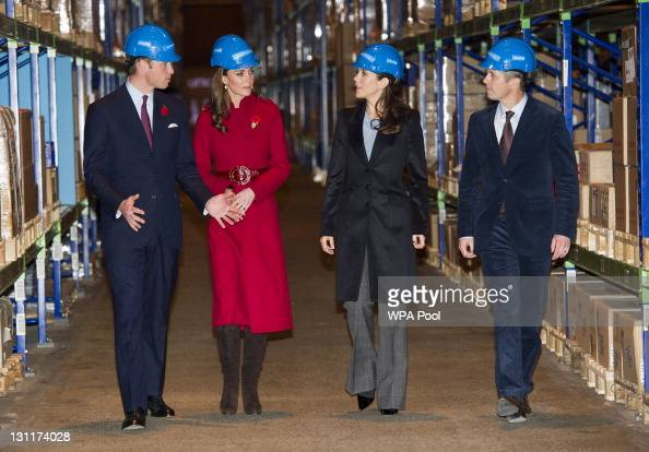 Prince William Duke of Cambridge Catherine Duchess of Cambridge Crown Princess Mary of Denmark and Crown Prince Frederik of Denmark during a visit to...