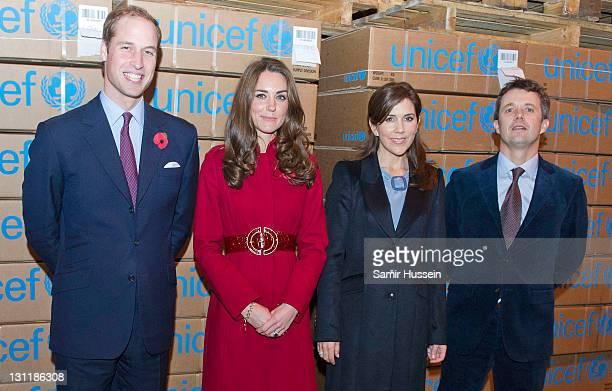 Prince William Duke of Cambridge Catherine Duchess of Cambridge Crown Princess Mary of Denmark and Crown Prince Frederik of Denmark visit the UNICEF...