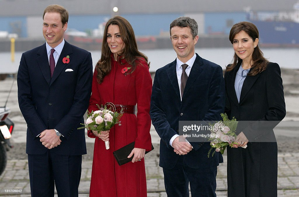 <a gi-track='captionPersonalityLinkClicked' href=/galleries/search?phrase=Prince+William&family=editorial&specificpeople=178205 ng-click='$event.stopPropagation()'>Prince William</a>, Duke of Cambridge (L), Catherine, Duchess of Cambridge (2nd L), Crown <a gi-track='captionPersonalityLinkClicked' href=/galleries/search?phrase=Prince+Frederik+of+Denmark&family=editorial&specificpeople=171286 ng-click='$event.stopPropagation()'>Prince Frederik of Denmark</a> (2nd R) and <a gi-track='captionPersonalityLinkClicked' href=/galleries/search?phrase=Crown+Princess+Mary+of+Denmark&family=editorial&specificpeople=158374 ng-click='$event.stopPropagation()'>Crown Princess Mary of Denmark</a> (R) arrive for a visit to the UNICEF emergency supply centre on November 2, 2011 in Copenhagen, Denmark.