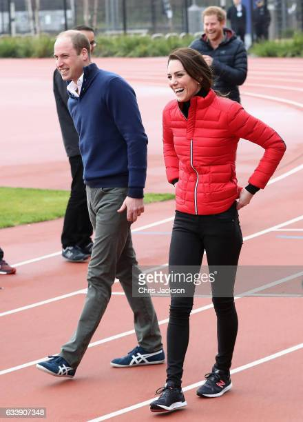Prince William Duke of Cambridge Catherine Duchess of Cambridge join Team Heads Together at a London Marathon Training Day at the Queen Elizabeth...