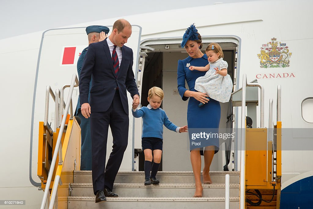 Prince William, Duke of Cambridge, Catherine, Duchess of Cambridge, Prince George of Cambridge and Princess Charlotte of Cambridge arrive at Victoria International Airport on September 24, 2016 in Victoria, Canada.
