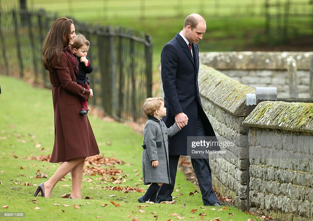 Prince William, Duke of Cambridge, Catherine, Duchess of Cambridge, Princess Charlotte of Cambridge and Prince George of Cambridge attend Church on Christmas Day on December 25, 2016 in Bucklebury, Berkshire.
