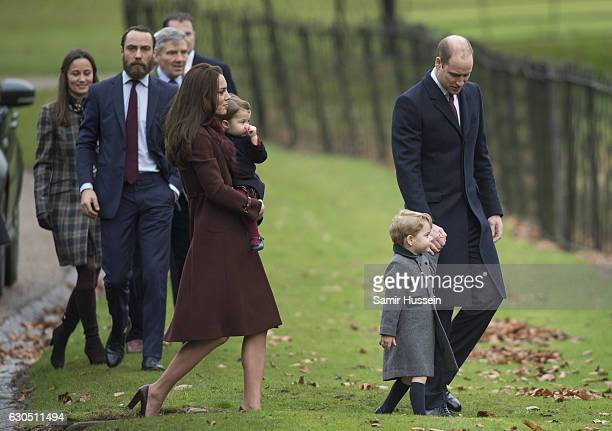 Prince William Duke of Cambridge Catherine Duchess of Cambridge Prince George of Cambridge Princess Charlotte of Cambridge Pippa Middleton and James...