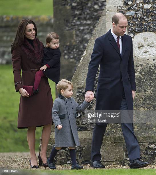 Prince William Duke of Cambridge Catherine Duchess of Cambridge Prince George of Cambridge and Princess Charlotte of Cambridge attend Church on...