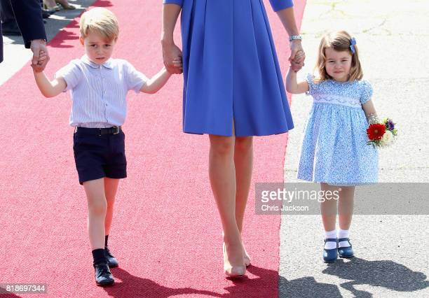 Prince William Duke of Cambridge Catherine Duchess of Cambridge Prince George of Cambridge and Princess Charlotte of Cambridge arrive at Berlin Tegel...