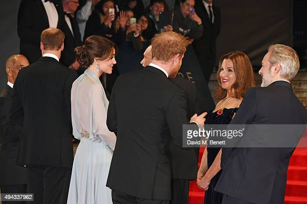 Prince William Duke of Cambridge Catherine Duchess of Cambridge Prince Harry Barbara Broccoli and Sam Mendes attend the Royal World Premiere of...