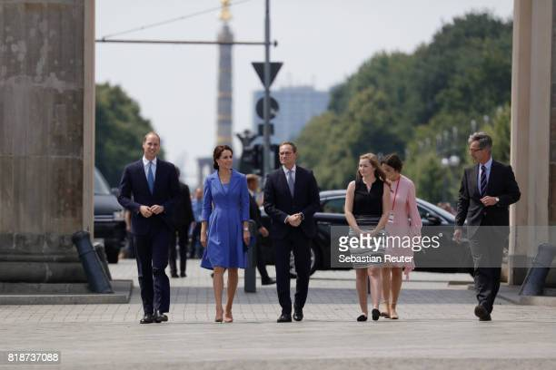 Prince William Duke of Cambridge Catherine Duchess of Cambridge Berlin Mayor Michael Mueller and his daughter arrive at the Brandenburg Gate during...