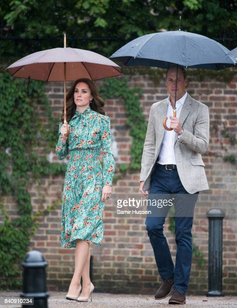 Prince William Duke of Cambridge Catherine Duchess of Cambridge visit The Sunken Garden at Kensington Palace on August 30 2017 in London England The...