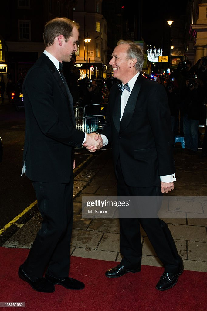 Prince William, Duke of Cambridge; Charlie Mayhew CEO of Tusk attend the annual Tusk Trust Conservation awards at Claridge's Hotel on November 24, 2015 in London, England.