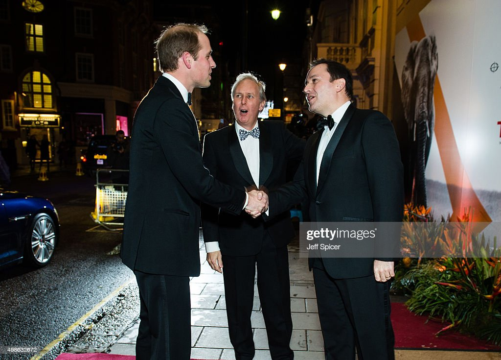 Prince William; Duke of Cambridge; Charlie Mayhew CEO Tusk; Thomas Kochs Manager of Claridge's attend the annual Tusk Trust Conservation awards at Claridge's Hotel on November 24, 2015 in London, England.