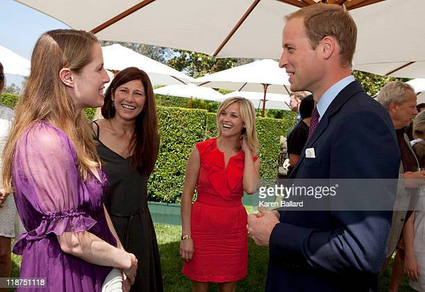 Prince William Duke of Cambridge chats with Kristin Gore and actresses Catherine Keener and Reese Witherspoon during a reception to mark the launch...