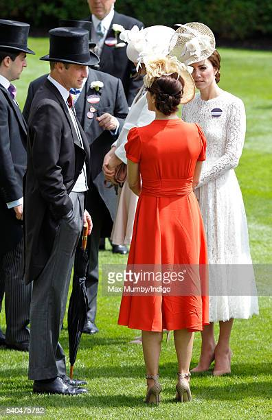 Prince William Duke of Cambridge Crown Princess Mary of Denmark and Catherine Duchess of Cambridge attend day 2 of Royal Ascot at Ascot Racecourse on...