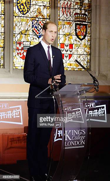 Prince William Duke of Cambridge delivers a speech to a live audience of students and the largest Chinese TV station CCTV1 on the illegal wildlife...