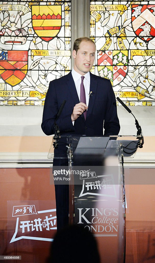 Prince William, Duke of Cambridge delivers a speech to a live audience of students and the largest Chinese TV station CCTV1, on the illegal wildlife trade, at the Maughan Library King's College building on October 19, 2015 in London, England.