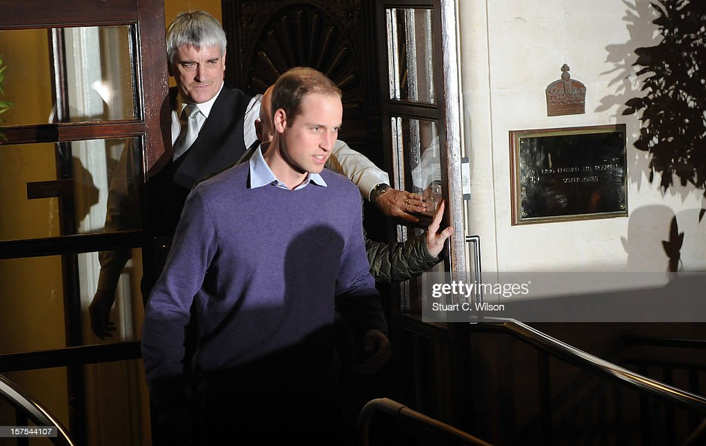 Prince William Duke of Cambridge departs the King Edward VII Private Hospital on December 4, 2012 in London, England. Catherine, Duchess of Cambridge spent her first night in the hospital after yesterday's announement of her pregnancy and the fact she was suffering from hyperemesis gravidarum or acute morning sickness at King Edward VII Hospital on December 4, 2012 in London, England.