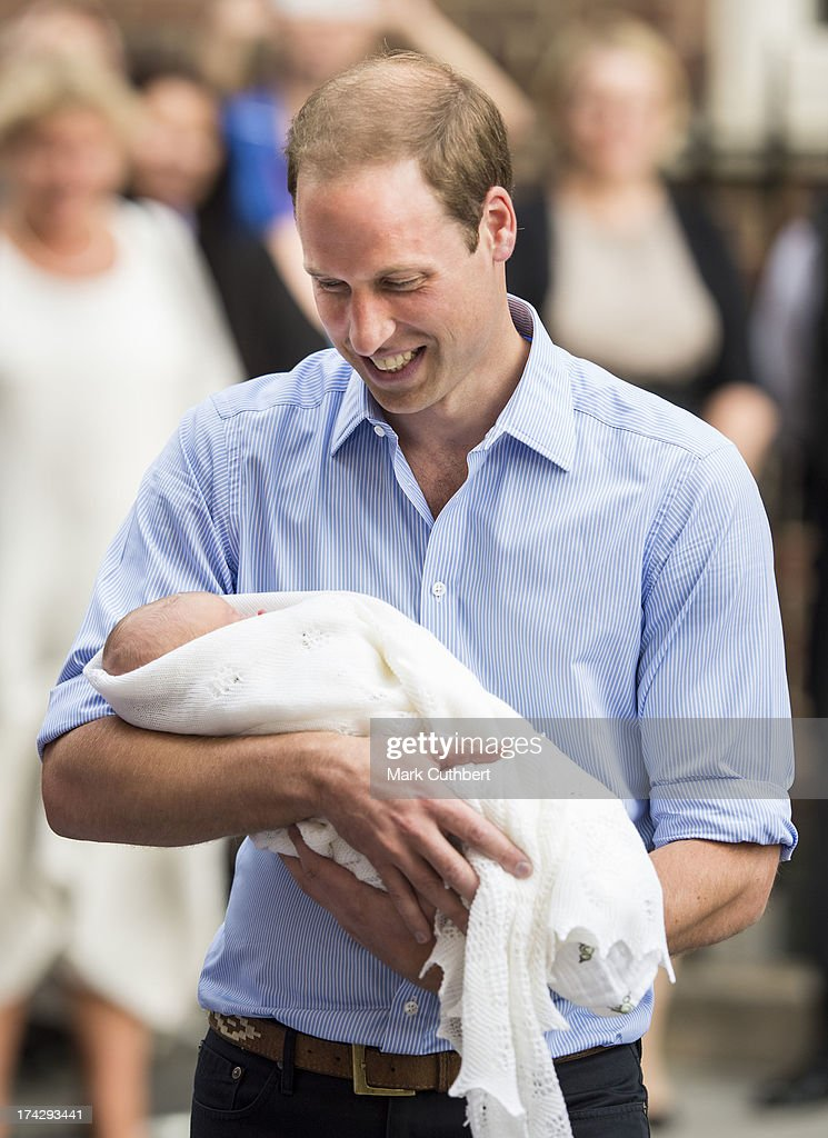 Prince William, Duke of Cambridge departs The Lindo Wing with his newborn Son at St Mary's Hospital on July 23, 2013 in London, England.