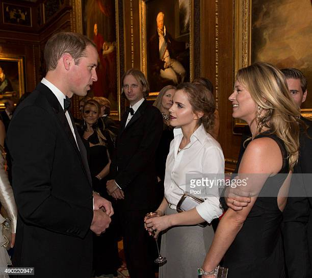 Prince William Duke of Cambridge Emma Watson and Kate Moss attend a dinner to celebrate the work of The Royal Marsden hosted by the Duke of Cambridge...