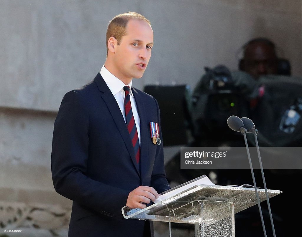 <a gi-track='captionPersonalityLinkClicked' href=/galleries/search?phrase=Prince+William&family=editorial&specificpeople=178205 ng-click='$event.stopPropagation()'>Prince William</a>, Duke of Cambridge gives a speech as he takes part in a vigil at Thiepval Memorial to the Missing of the Somme during Somme Centenary Commemorations on June 30, 2016 in Thiepval, France.