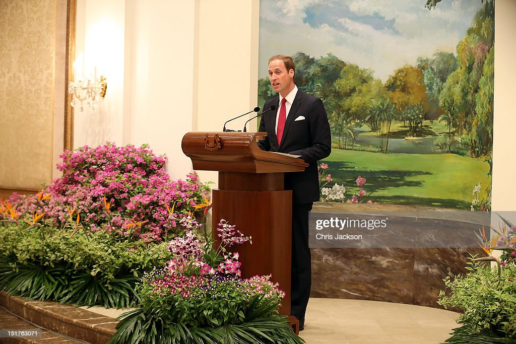 <a gi-track='captionPersonalityLinkClicked' href=/galleries/search?phrase=Prince+William&family=editorial&specificpeople=178205 ng-click='$event.stopPropagation()'>Prince William</a>, Duke of Cambridge gives a speech at The Istana on day 1 of their Diamond Jubilee tour on September 11, 2012 in Singapore. <a gi-track='captionPersonalityLinkClicked' href=/galleries/search?phrase=Prince+William&family=editorial&specificpeople=178205 ng-click='$event.stopPropagation()'>Prince William</a>, Duke of Cambridge and Catherine, Duchess of Cambridge are on a Diamond Jubilee Tour of the Far East taking in Singapore, Malaysia, the Solomon Islands and the tiny Pacific Island of Tuvalu.