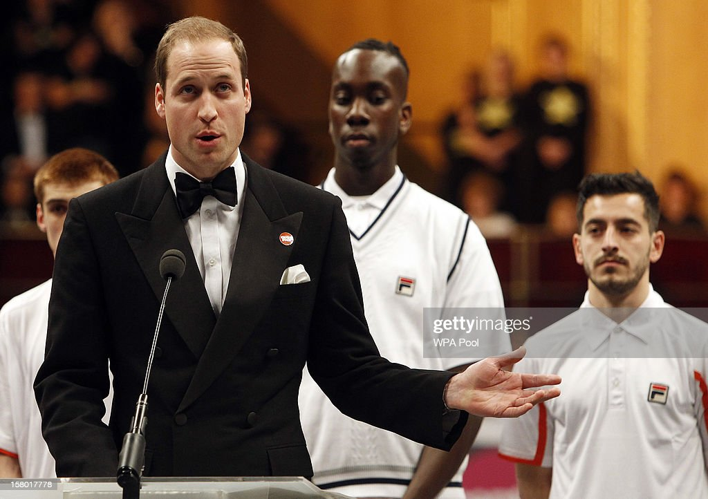Prince William, Duke of Cambridge gives a speech at the Winter Whites Gala, in aid of the homeless charity Centrepoint, at the Royal Hallon December 8, 2012 in London, England.