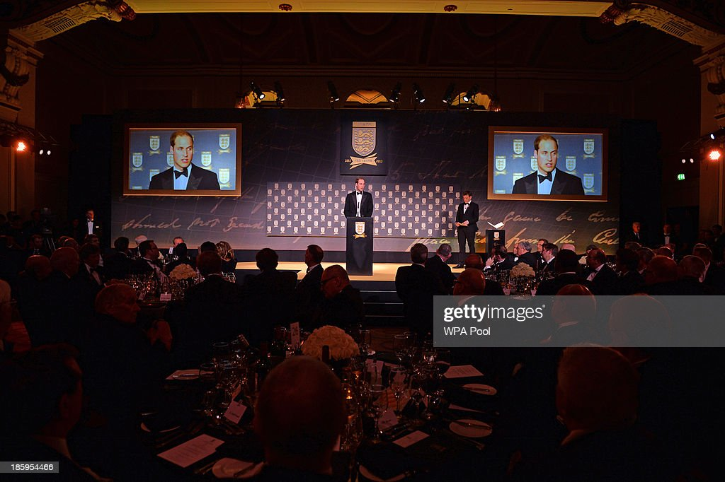 <a gi-track='captionPersonalityLinkClicked' href=/galleries/search?phrase=Prince+William&family=editorial&specificpeople=178205 ng-click='$event.stopPropagation()'>Prince William</a>, Duke of Cambridge gives a speech during The Football Association's 150th Anniversary Gala Dinner at the Grand Connaught Rooms on October 26, 2013 in London, England. The Duke of Cambridge is president of the Football Association, which was founded 150 years ago on October 26, 1863. The event marks the day when a group of men representing a dozen London and suburban clubs met at the Freemason's Tavern in London, to draw up the rules of a sport that went on to become the most popular in the world.