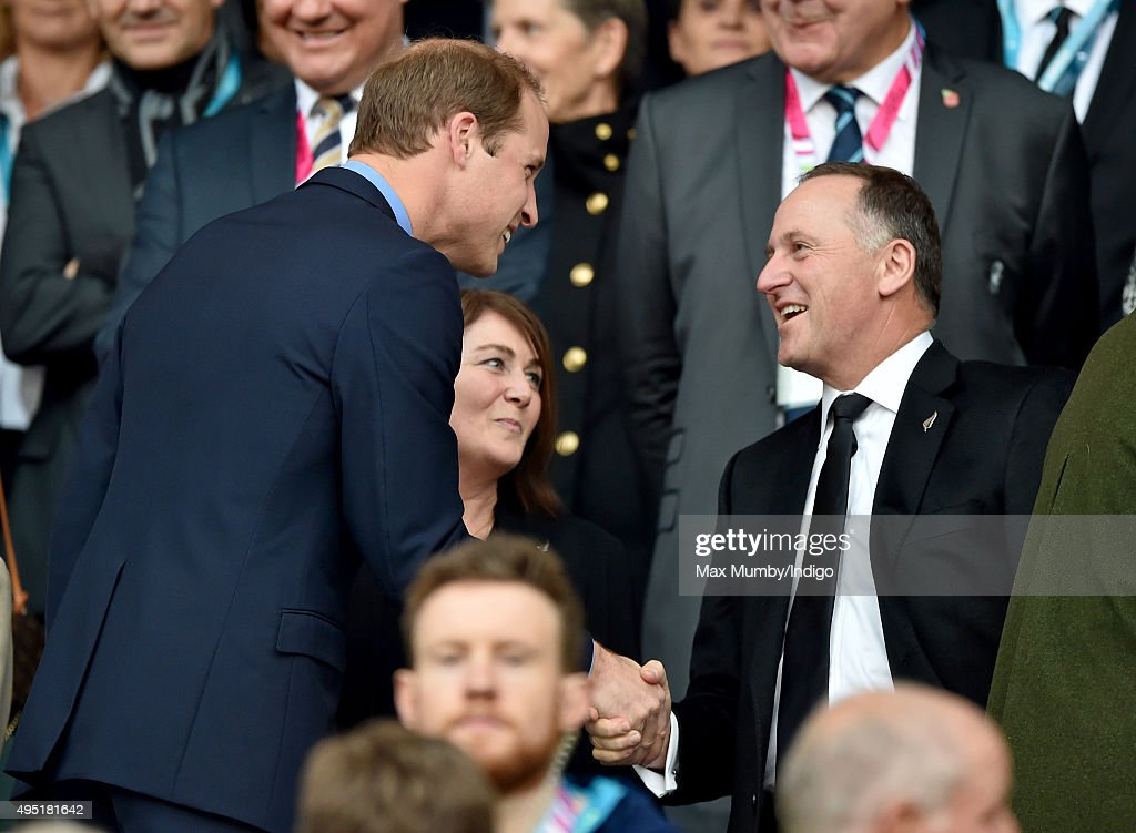 <a gi-track='captionPersonalityLinkClicked' href=/galleries/search?phrase=Prince+William&family=editorial&specificpeople=178205 ng-click='$event.stopPropagation()'>Prince William</a>, Duke of Cambridge greets Prime Minister of New Zealand <a gi-track='captionPersonalityLinkClicked' href=/galleries/search?phrase=John+Key&family=editorial&specificpeople=2246670 ng-click='$event.stopPropagation()'>John Key</a> as they attend the 2015 Rugby World Cup Final match between New Zealand and Australia at Twickenham Stadium on October 31, 2015 in London, England.