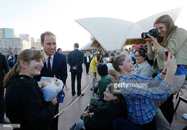 Prince William Duke of Cambridge greets wellwishers at Sydney Opera House on April 16 2014 in Sydney Australia The Duke and Duchess of Cambridge are...