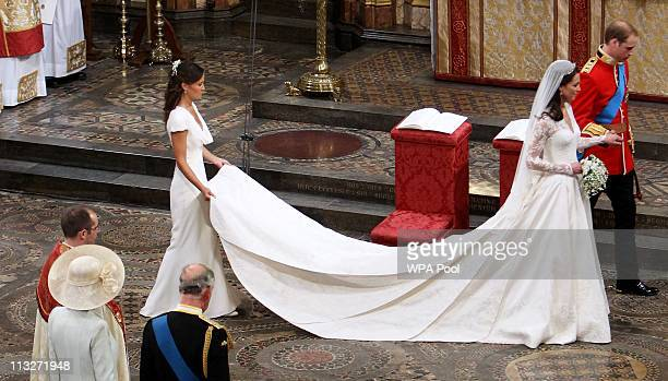 Prince William Duke of Cambridge his new bride Catherine Duchess of Cambridge and Pippa Middleton take part in the service on April 29 2011 in London...
