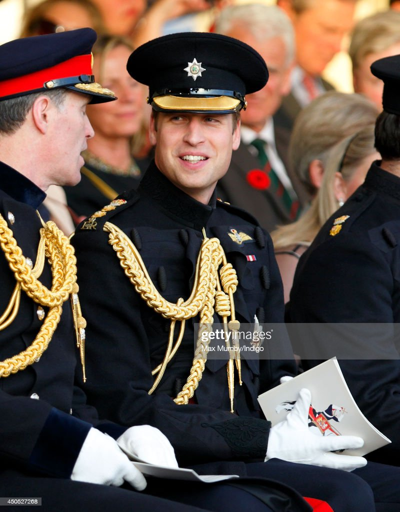 <a gi-track='captionPersonalityLinkClicked' href=/galleries/search?phrase=Prince+William&family=editorial&specificpeople=178205 ng-click='$event.stopPropagation()'>Prince William</a>, Duke of Cambridge, in his role as Colonel of the Irish Guards, attends the Household Division's Beating Retreat on Horse Guards Parade on June 12, 2014 in London, England.