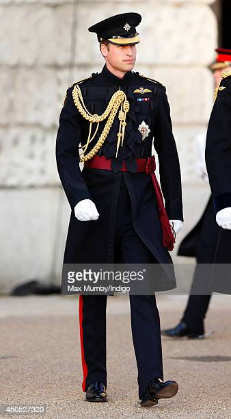 Prince William Duke of Cambridge in his role as Colonel of the Irish Guards attends the Household Division's Beating Retreat on Horse Guards Parade...