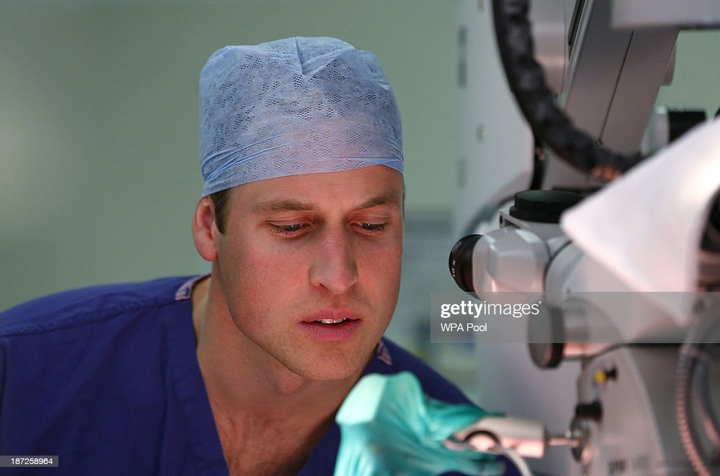Prince William, Duke of Cambridge, in his role as President of the Royal Marsden NHS (National Health Service) Foundation Trust observes breast reconstruction surgery during a visit to the Royal Marsden Hospital on November 07, 2013 in Sutton, Greater London.