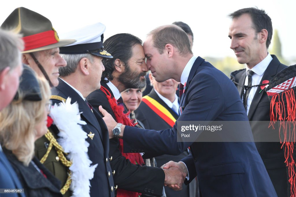 Prince William, Duke of Cambridge, is greeted by Former Corporal in the New Zealand Special Air Service and Victoria Cross awardee Bill Henry 'Willie' Apiata, at the New Zealand Memorial Wall to the Missing during the Commemoration for the Battle of Passchendaele at Tyne Cot Cemetery on October 12, 2017 in Flanders, Belguim. The Commemoration marks the centenary of the Third Battle of Ypres during World War One, where the New Zealand Division suffered heavy losses.