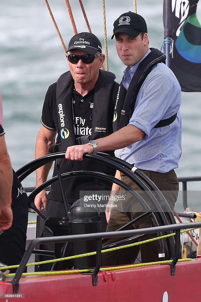 Prince William, Duke of Cambridge is seen racing the New Zealand's Americas Cup Team yacht during their visit to Auckland Harbour on April 11, 2014 in Auckland, New Zealand. The Duke and Duchess of Cambridge are on a three-week tour of Australia and New Zealand, the first official trip overseas with their son, Prince George of Cambridge.