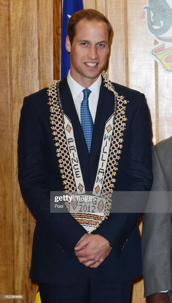 Prince William, Duke of Cambridge is seen wearing a personalised necklace given to him as he visits the Prime Minister of the Solomon Islands Gordon Darcy Lilo and the cabinet on day 7 of their Diamond Jubilee Tour, on September 17, 2012 in Honiara, Solomon Islands. Prince William, Duke of Cambridge and Catherine, Duchess of Cambridge arrived in the Solomon Islands as the first stop of the Pacific leg of their nine day Diamond Jubilee Tour of the Far East and South Pacific.