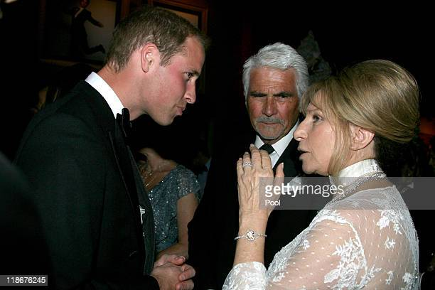 Prince William Duke of Cambridge James Brolin and Barbra Streisand attend the BAFTA 'Brits to Watch' event held at the Belasco Theatre on July 9 2011...
