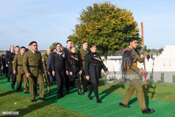 Prince William Duke of Cambridge joins a procession at the New Zealand Memorial Wall to the Missing during the Commemoration for the Battle of...