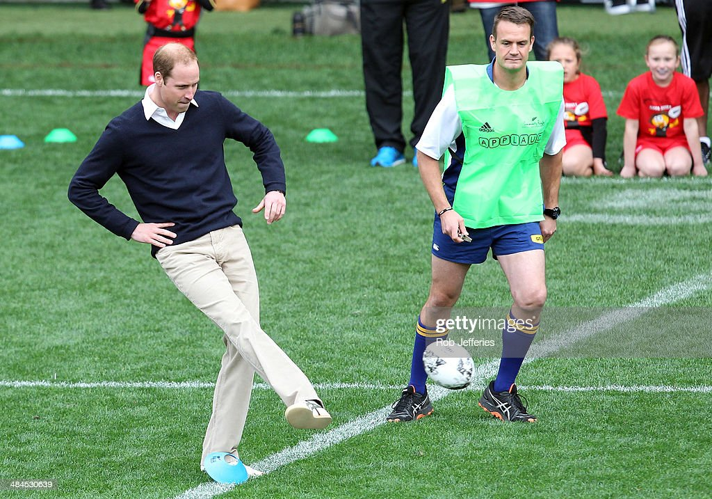 <a gi-track='captionPersonalityLinkClicked' href=/galleries/search?phrase=Prince+William&family=editorial&specificpeople=178205 ng-click='$event.stopPropagation()'>Prince William</a>, Duke of Cambridge kicks off a game of rippa rugby at Forsyth Barr Stadium, Dunedin on April 13, 2014 in Dunedin, New Zealand. The Duke and Duchess of Cambridge are on a three-week tour of Australia and New Zealand, the first official trip overseas with their son, Prince George of Cambridge.