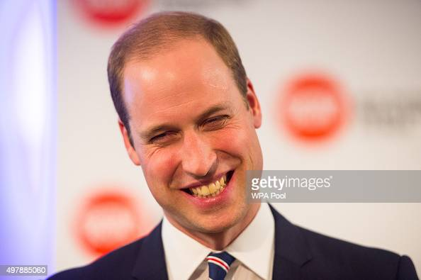 Prince William Duke of Cambridge laughs as he attends the launch of the Centrepoint Awards at the HSBC private bank on November 19 2015 in London...