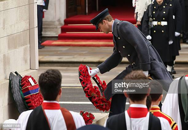 Prince William Duke of Cambridge lays a wreath at the annual Remembrance Sunday Service at the Cenotaph on Whitehall on November 9 2014 in London...