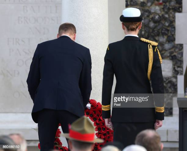 Prince William Duke of Cambridge lays a wreath at the New Zealand national commemoration for the Battle of Passchendaele at Tyne Cot Cemetery on...