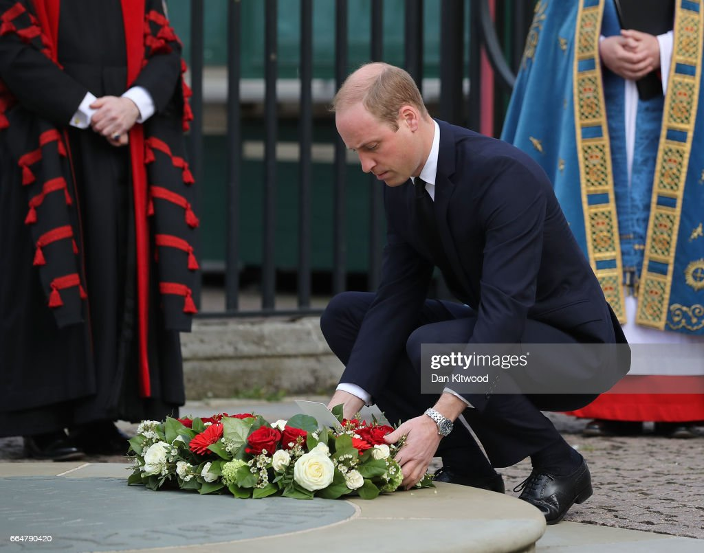 Prince William, Duke of Cambridge lays a wreath during the Service of Hope at Westminster Abbey on April 5,2017 in London, United Kingdom. The multi-faith Service of Hope was held for the four people killed when Khalid Masood committed an act of terror in Westminster on Wednesday March 22. Survivors, bereaved families and members of the emergency services joined The Duke and Duchess of Cambridge, Prince Harry, the Home Secretary, Amber Rudd and London Mayor, Sadiq Khan, in the congregation.