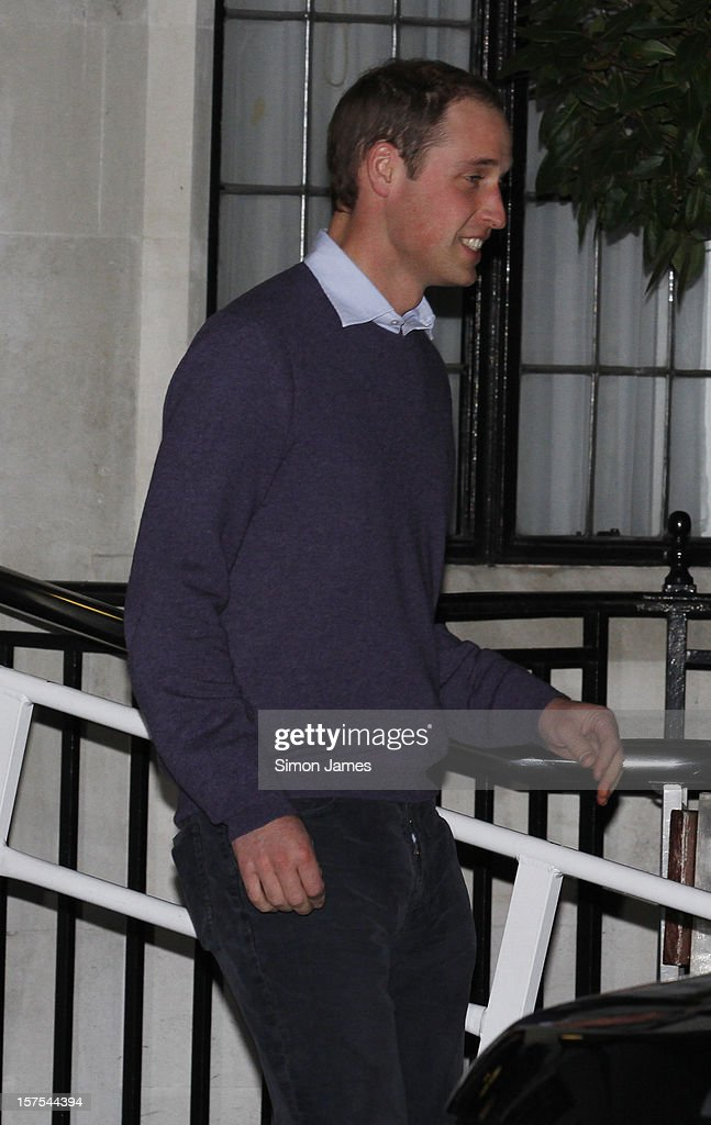 <a gi-track='captionPersonalityLinkClicked' href=/galleries/search?phrase=Prince+William&family=editorial&specificpeople=178205 ng-click='$event.stopPropagation()'>Prince William</a>, Duke of Cambridge leaves the King Edward VII Hospital where his wife Catherine, Duchess of Cambridge is currently undergoing care for pregnancy related issues on December 4, 2012 in London, England.