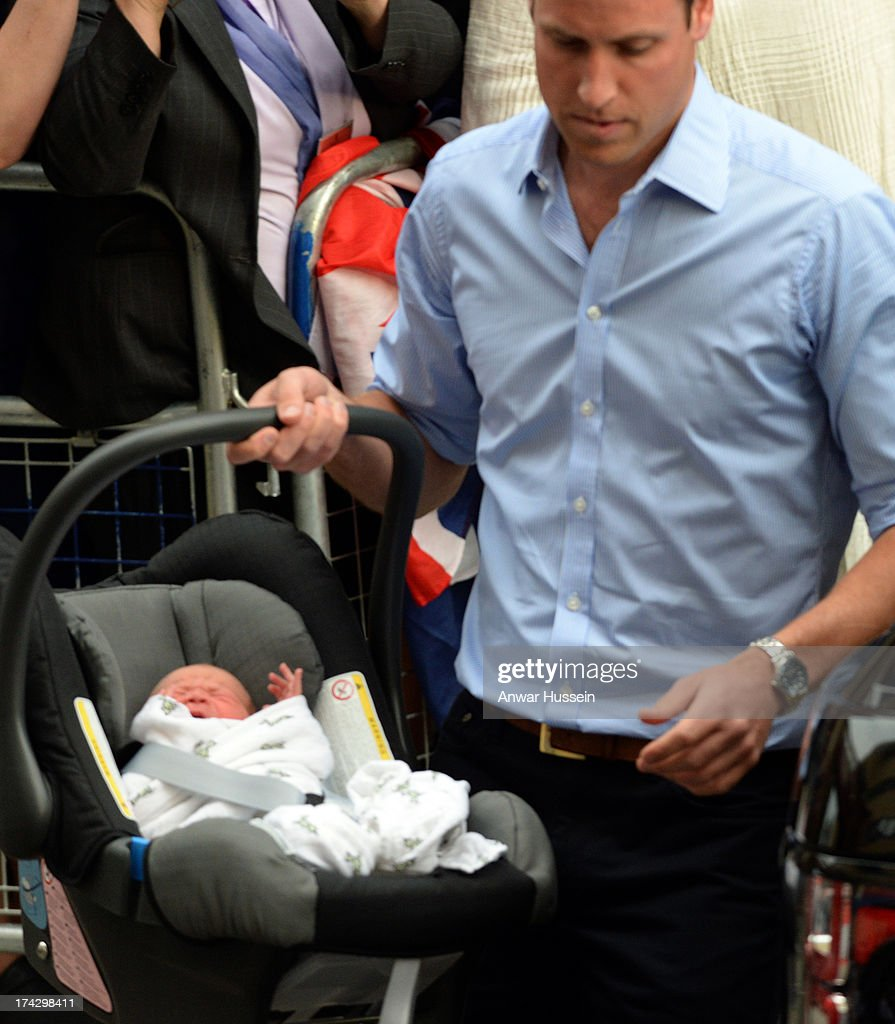 <a gi-track='captionPersonalityLinkClicked' href=/galleries/search?phrase=Prince+William&family=editorial&specificpeople=178205 ng-click='$event.stopPropagation()'>Prince William</a>, Duke of Cambridge leaves the Lindo Wing of St. Mary's hospital carrying newborn son on July 23, 2013 in London, England.