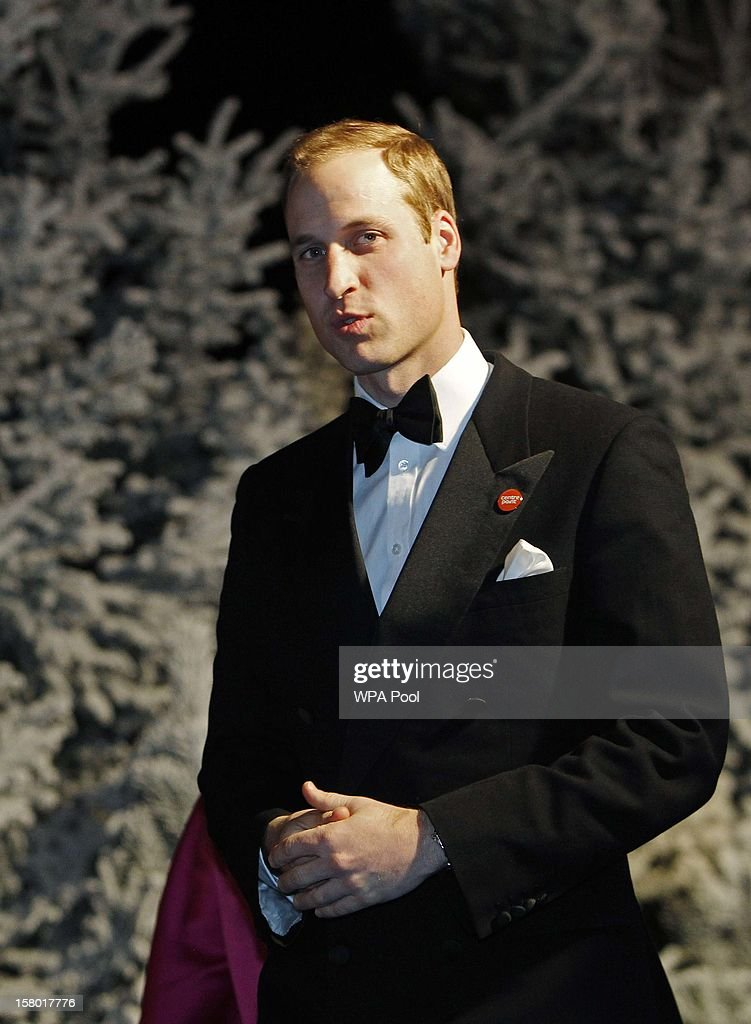 Prince William, Duke of Cambridge leaves the Winter Whites Gala, in aid of the homeless charity Centrepoint, at the Royal Hallon December 8, 2012 in London, England.
