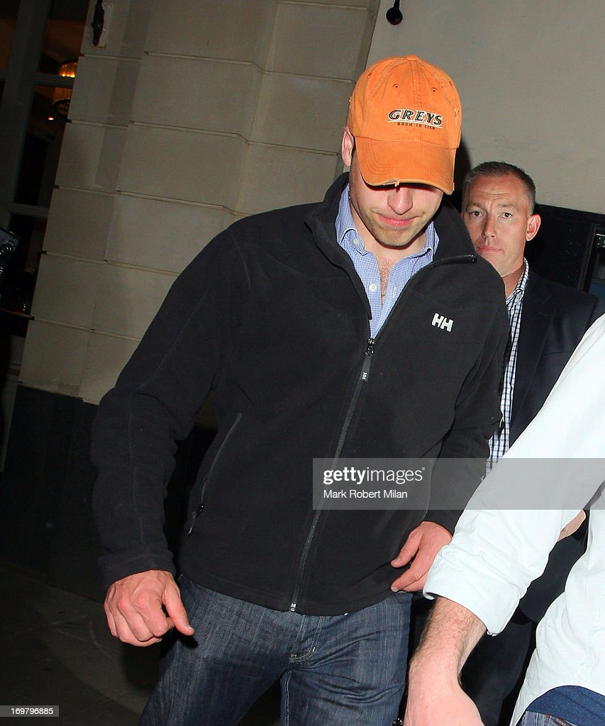 <a gi-track='captionPersonalityLinkClicked' href=/galleries/search?phrase=Prince+William&family=editorial&specificpeople=178205 ng-click='$event.stopPropagation()'>Prince William</a> Duke of Cambridge leaving Tonteria night club on June 1, 2013 in London, England.