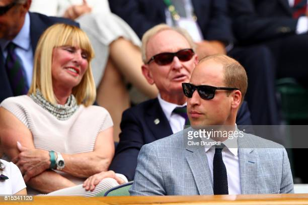 Prince William Duke of Cambridge looks on from the centre court royal box prior to the Gentlemen's Singles final between Roger Federer of Switzerland...