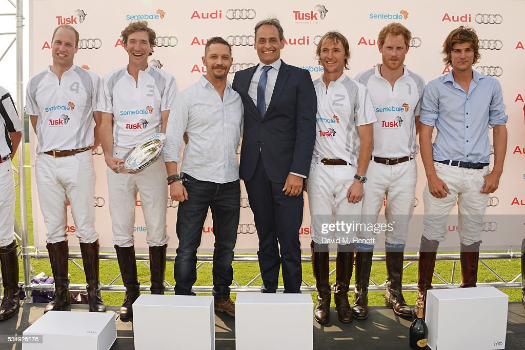 Prince William, Duke of Cambridge, Luke Tomlinson, presenter <a gi-track='captionPersonalityLinkClicked' href=/galleries/search?phrase=Tom+Hardy+-+Attore&family=editorial&specificpeople=2209780 ng-click='$event.stopPropagation()'>Tom Hardy</a>, Andre Konsbruck, Director of Audi UK, Mark Tomlinson, Prince Harry and William Melville-Smith attend day one of the Audi Polo Challenge at Coworth Park on May 28, 2016 in London, England.