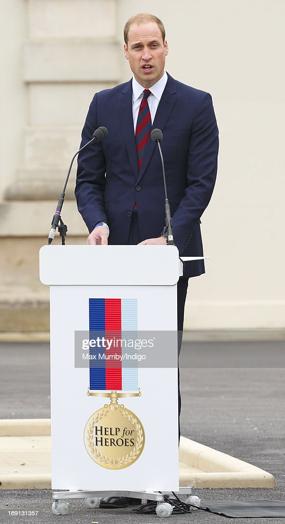 Prince William, Duke of Cambridge makes a speech as he attends the opening of the new Help for Heroes Recovery Centre at Tedworth House on May 20, 2013 in Tidworth, England. During their visit the two Royal Princes met with wounded veterans, serving personnel, and their families. Tedworth House in Wiltshire is one of four new units in England which will offer respite care and rehabilitation to injured and sick service personnel, veterans and their families.
