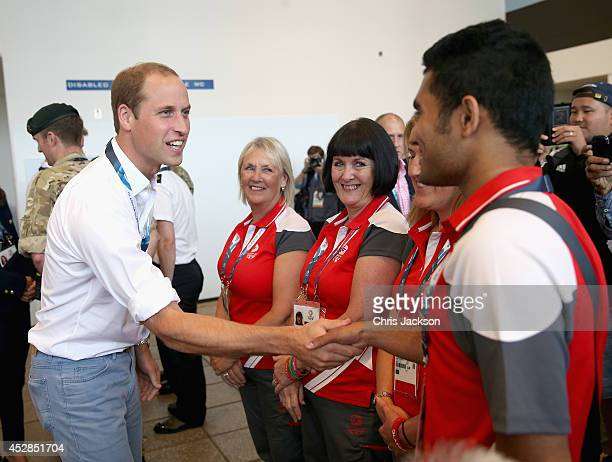 Prince William Duke of Cambridge meet Games Volunteers in the SECC as she attends Commonwealth games on July 28 2014 in Glasgow Scotland