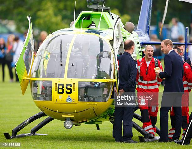 Prince William Duke of Cambridge meets Air Ambulance pilots medics as he visits Strathearn Community Campus on a day of engagements in Strathearn on...